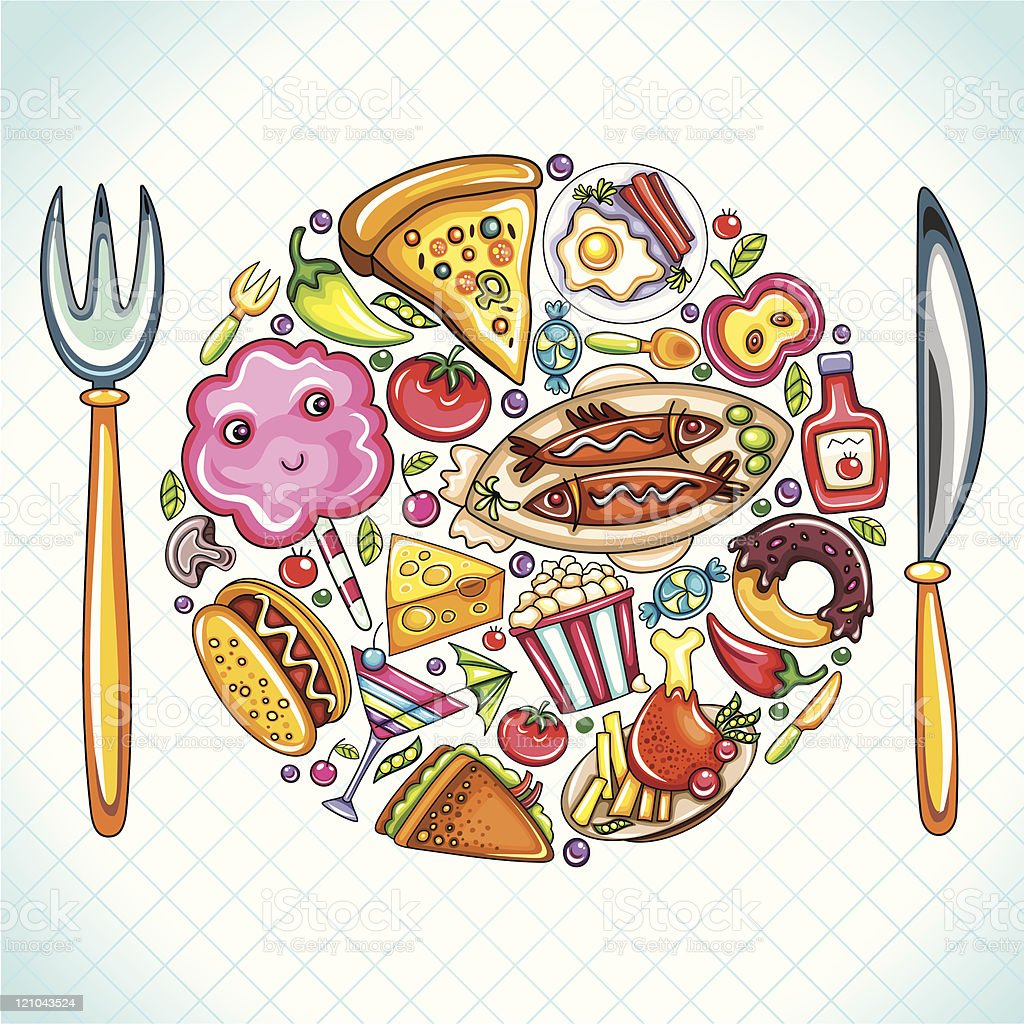 Illustration of a plate filled with various food vector art illustration