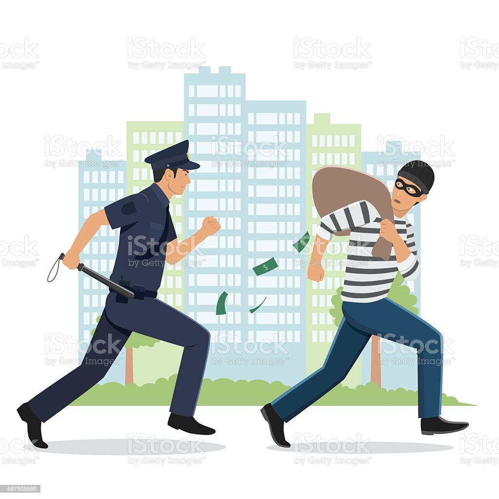 Illustration of a Policeman Chasing a Thief with Stolen Bag vector art illustration
