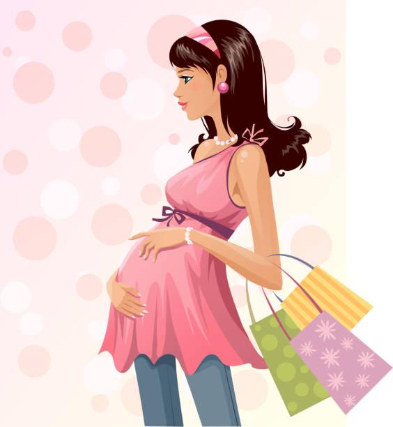 99 Human Pregnancy Shopping Fashion Bag Illustrations Clip Art Istock