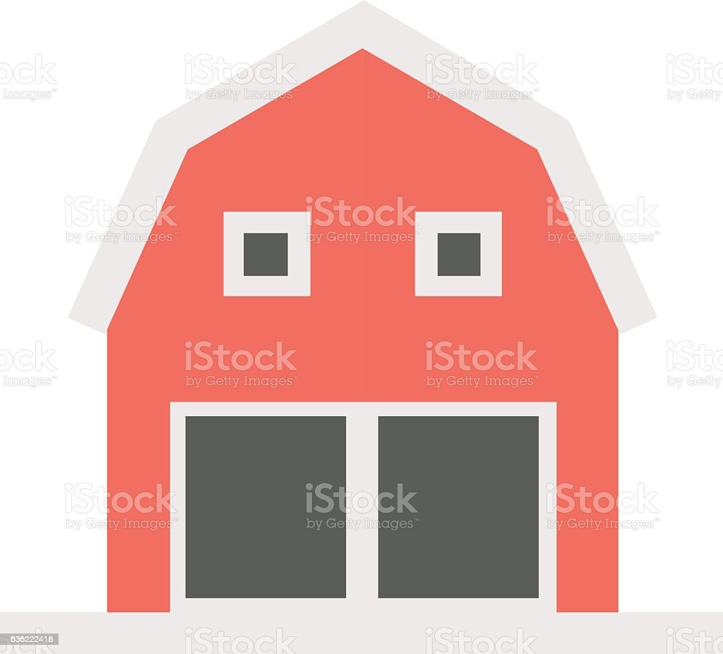 Illustration of a red barn house on a white background vector art illustration