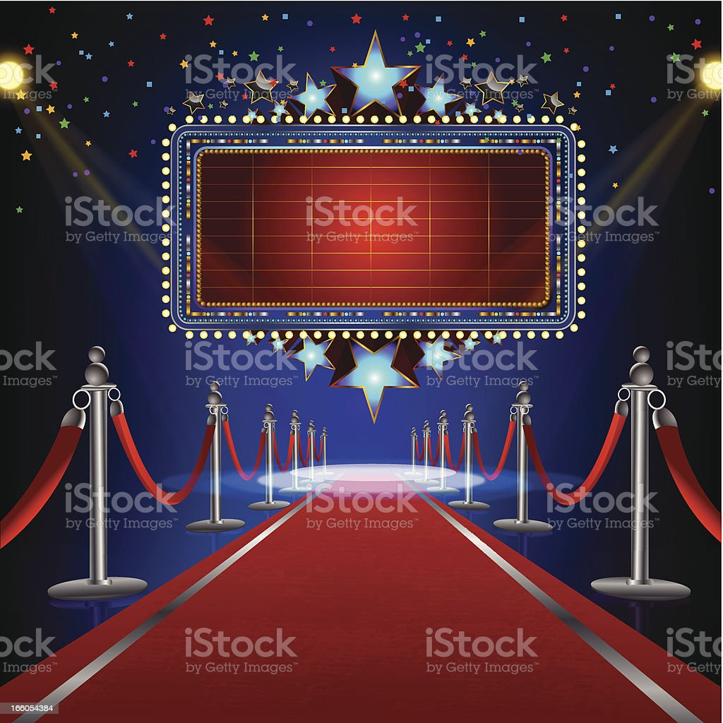 Illustration of a red carpet with ropes leading to cinema royalty-free stock vector art