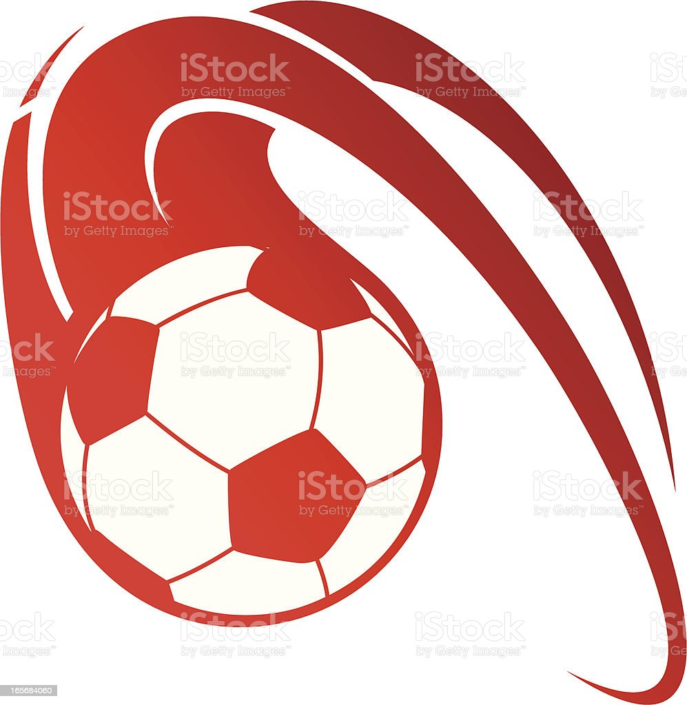 Illustration of a red flaming soccer ball on a white back royalty-free stock vector art