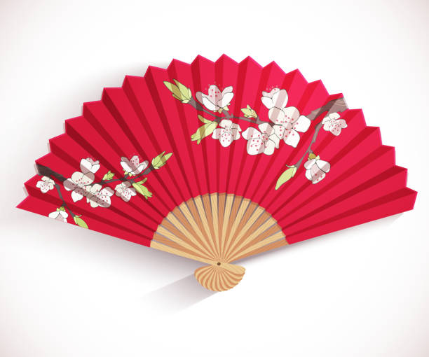 ilustrações de stock, clip art, desenhos animados e ícones de decorative leque dobrável. - cherry blossoms