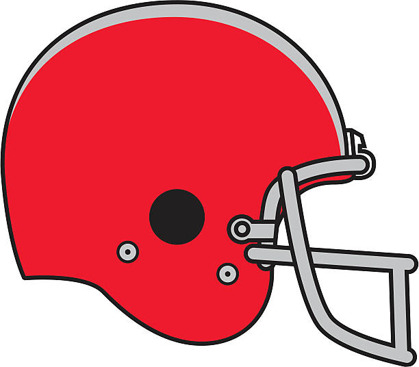 Illustration of a red football helmet A red football helmet. football helmet stock illustrations