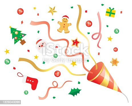 istock Illustration of a red party cracker of Christmas 1326040095