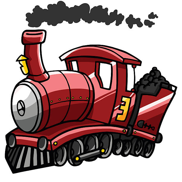 Illustration of a red train blowing smoke and carrying coal