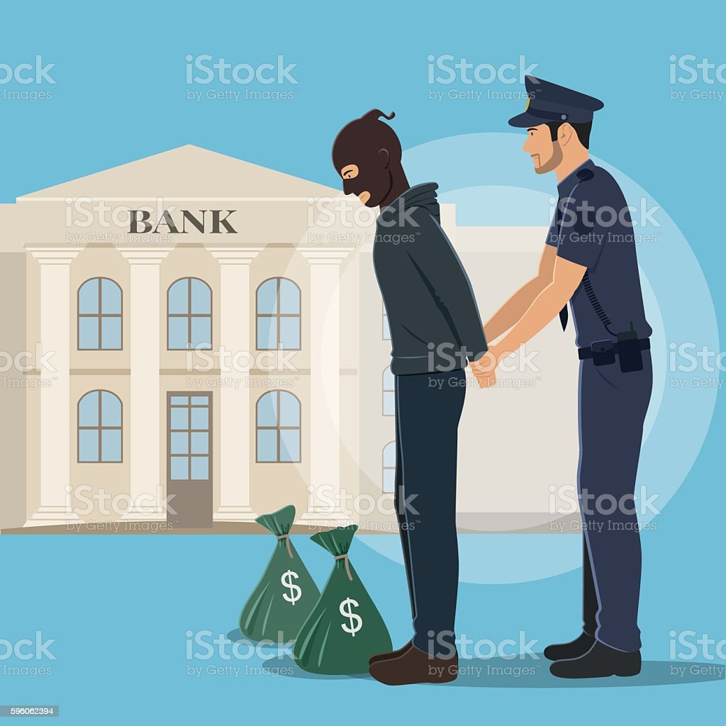 Illustration of a Robber with Money Bags Arrested by Police vector art illustration