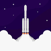Illustration of a rocket taking off into space against a starry sky at night. Vector