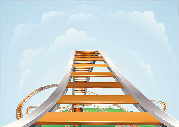 a 3d illustration of a roller coaster - roller coaster stock illustrations