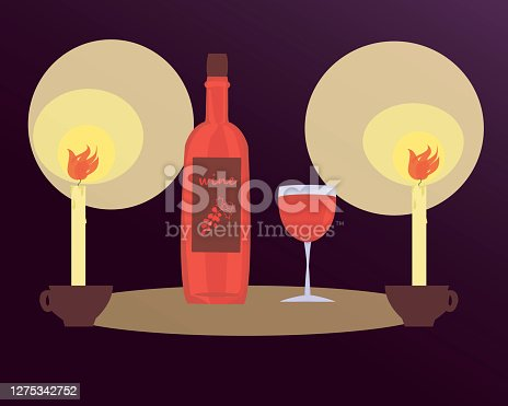 istock illustration of a romantic candlelight dinner with a bottle of wine. red wine in a glass on a dark purple background by candlelight. 1275342752