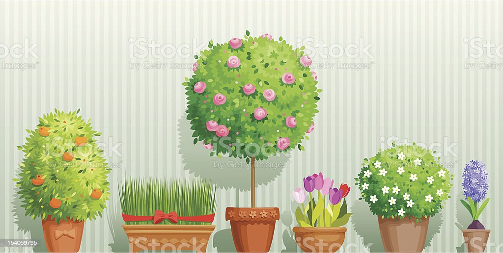 Illustration of a row of different potted plants and trees vector art illustration