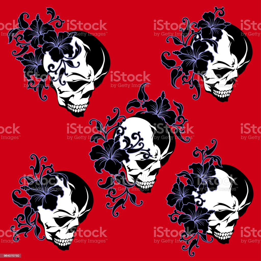 Illustration of a scull and the Hibiscus, - Royalty-free Abstract stock vector