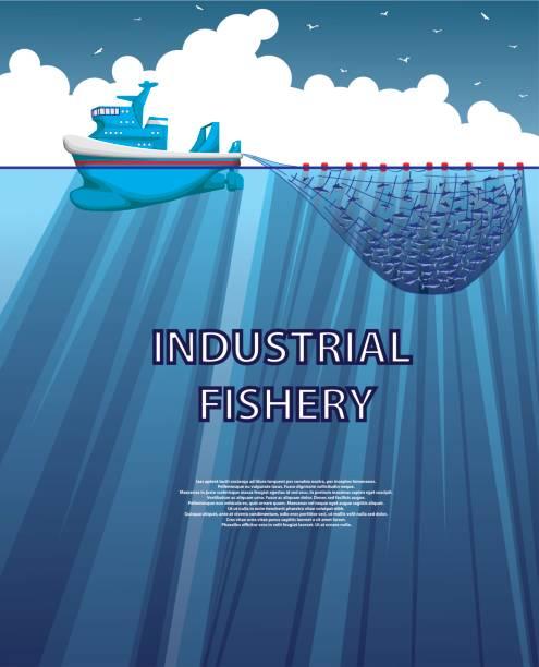 ilustrações de stock, clip art, desenhos animados e ícones de illustration of a sea fishing trawler - aquacultura