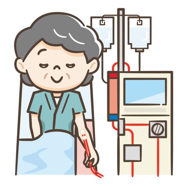 ilustrações de stock, clip art, desenhos animados e ícones de illustration of a senior woman undergoing hemodialysis - diálise