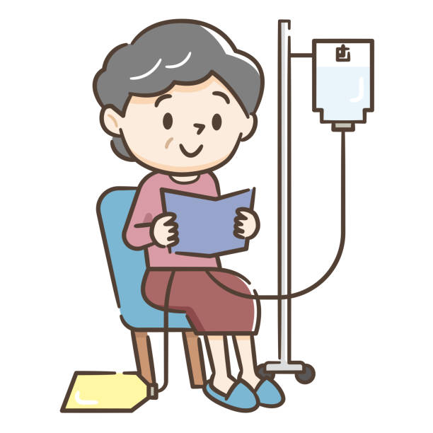 ilustrações de stock, clip art, desenhos animados e ícones de illustration of a senior woman undergoing peritoneal dialysis - diálise