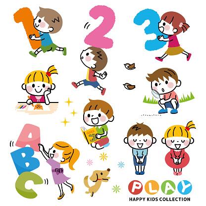 Illustration of a set of children's learning.