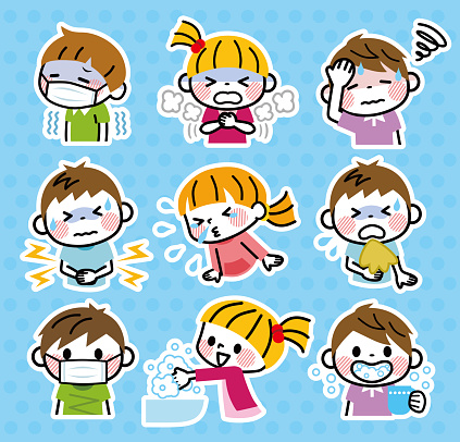 Illustration of a set of children's medical conditions.