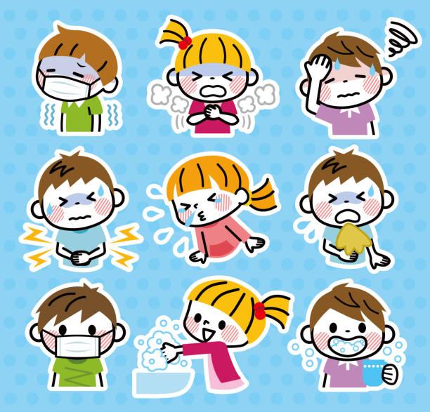 子供の病状のセットのイラスト。 - くしゃみ 日本人点のイラスト素材/クリップアート素材/マンガ素材/アイコン素材