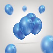 An illustration of a set of colorful birthday or party balloons