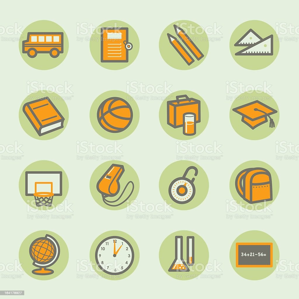 Illustration of a set of green and orange school icons vector art illustration