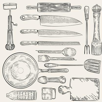 Illustration of a set of kitchen utensils