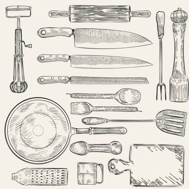 Illustration of a set of kitchen utensils Illustration of a set of kitchen utensils rolling pin stock illustrations