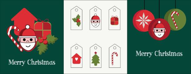 Illustration of a set of two cards and different tags for the gifts. Red and green graphics with Christmas elements vector art illustration