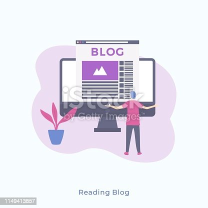 Illustration of a Simple Man Standing Backwards and Looking at Monitor with Blog. Vector Male Character Blogging, Reading Blog Concept for Web Banners