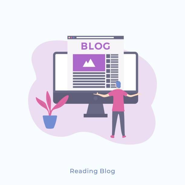stockillustraties, clipart, cartoons en iconen met illustratie van een eenvoudige man staande achteruit en kijken naar de monitor met blog. - bloggen
