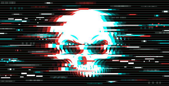 Illustration of a skull in glitch art style