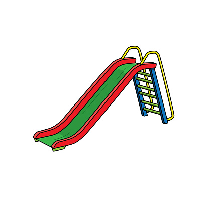 Illustration of a slide in a park Can be used as teaching material for teachers to make children's books. Or have parents use to make documents Accompany the lesson.