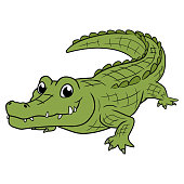 Illustration of a smiling crocodile on a white background
