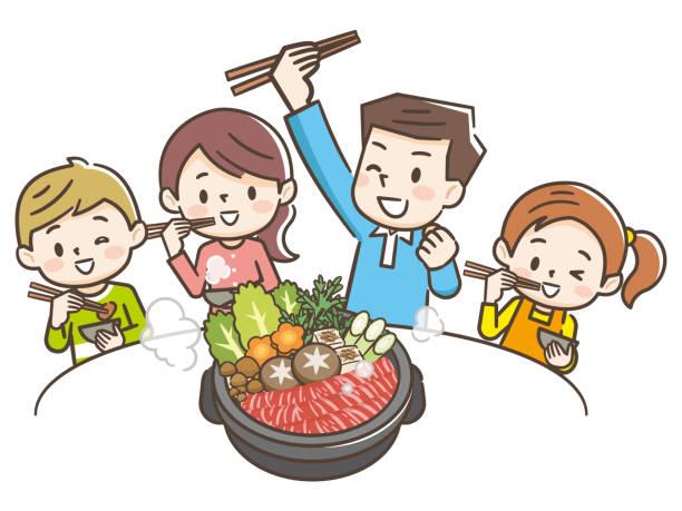 すき焼きを食べる笑顔の家族のイラスト - 家族 日本点のイラスト素材/クリップアート素材/マンガ素材/アイコン素材