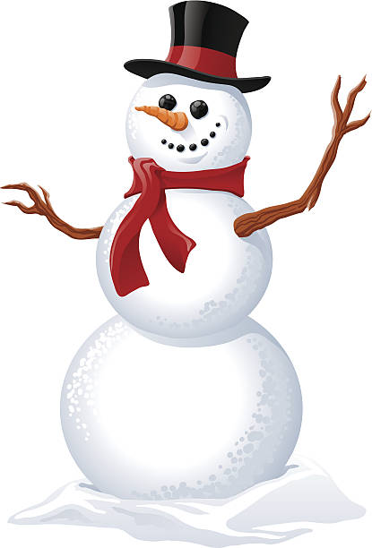 Illustration of a snowman wearing a red scarf Snowman with removable hat, scarf and arms. 6 spot colors plus black. All major elements are layered separately for easy editing. Simple gradients and shapes for easy printing, separating and color changes. File formats: EPS and JPG snowman stock illustrations