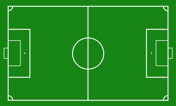 Illustration of a soccer field. Football field or soccer field background Illustration of a soccer field. Football field or soccer field background. Vector green court for create game. soccer field stock illustrations