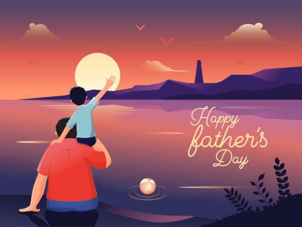 bildbanksillustrationer, clip art samt tecknat material och ikoner med illustration av en son som sitter på sin fars skuldra medan de ser hav tillsammans på solnedgången landskaps bakgrund för happy father ' s day firande banner design. - pappa son