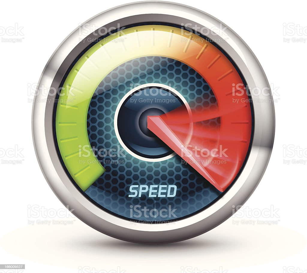 Illustration of a speedometer with colorful gauge vector art illustration