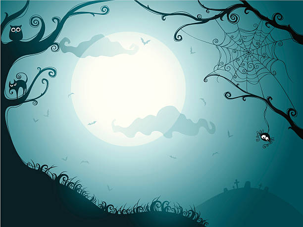illustration of a spooky halloween night - halloween background stock illustrations