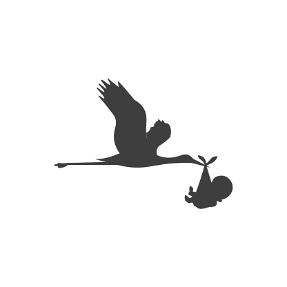 Illustration of a stork carrying a baby.