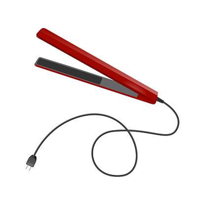 Illustration of a straightener that straightens hair.