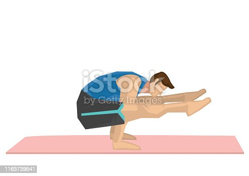 Illustration of a strong man practicing yoga with a firefly pose. Concept of yoga calmness, relaxation and wellness. Vector illustration.