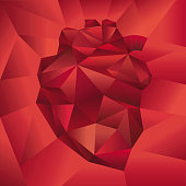 Illustration of a stylized human heart origami on red background