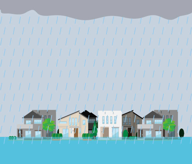Illustration of a submerged residential area. vector art illustration
