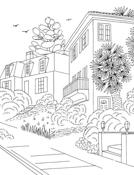 Illustration of a suburban neighbourhood Hand drawn black and white illustration of a middle class suburban neighbourhood with houses, yard, pavement and trees architecture illustrations stock illustrations