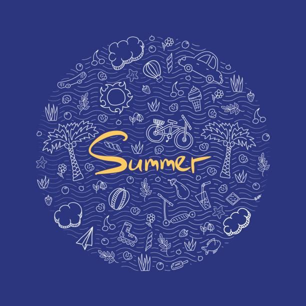 Beispiel für einen Sommerurlaub in leuchtenden Farben. – Vektorgrafik