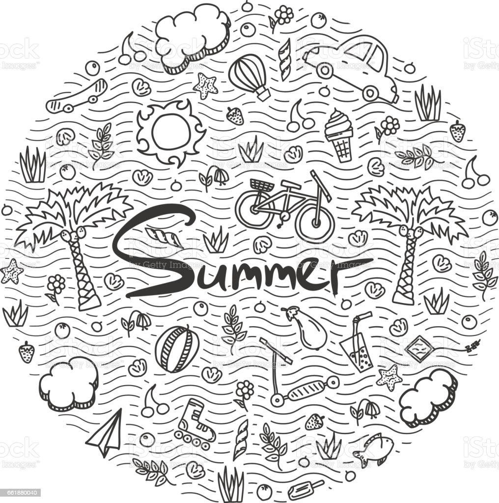 Abbildung des Sommerurlaubs. – Vektorgrafik