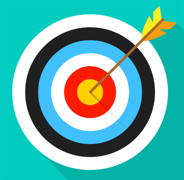 Illustration of a target with an arrow on a white background. In flat style. Illustration of a target with an arrow on a white background. In flat style. sports target stock illustrations