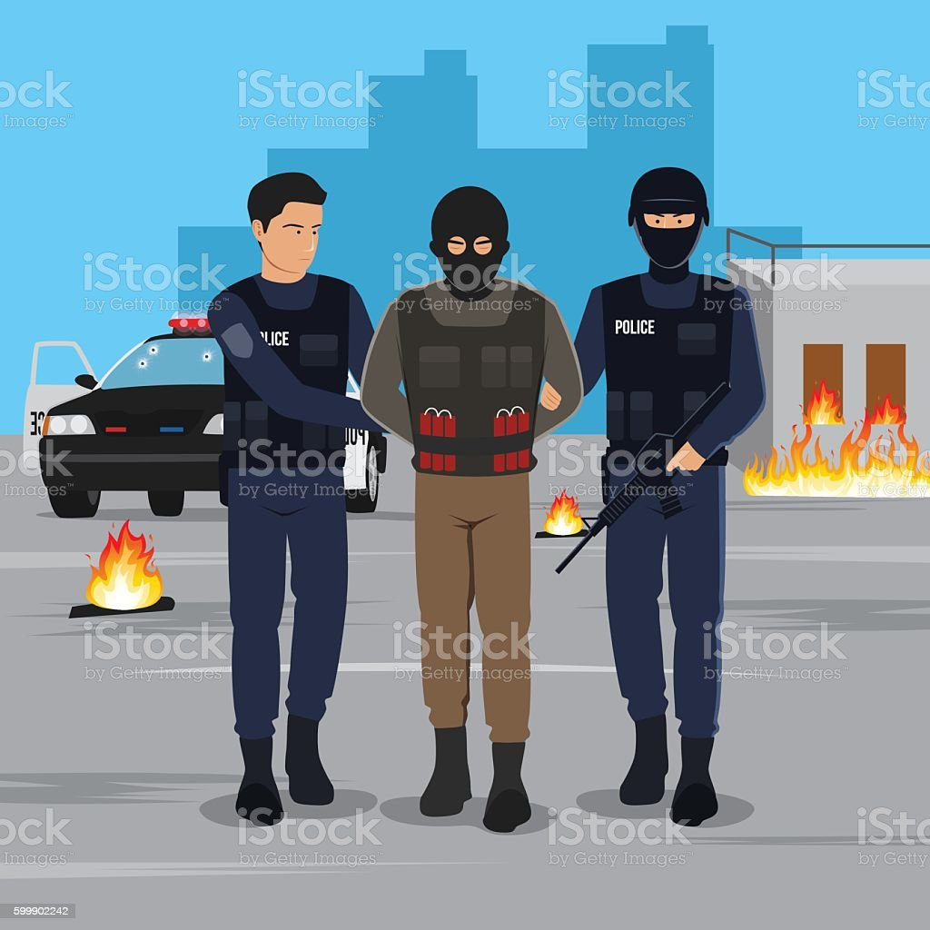 Illustration of a Terrorist Arrested by Police vector art illustration