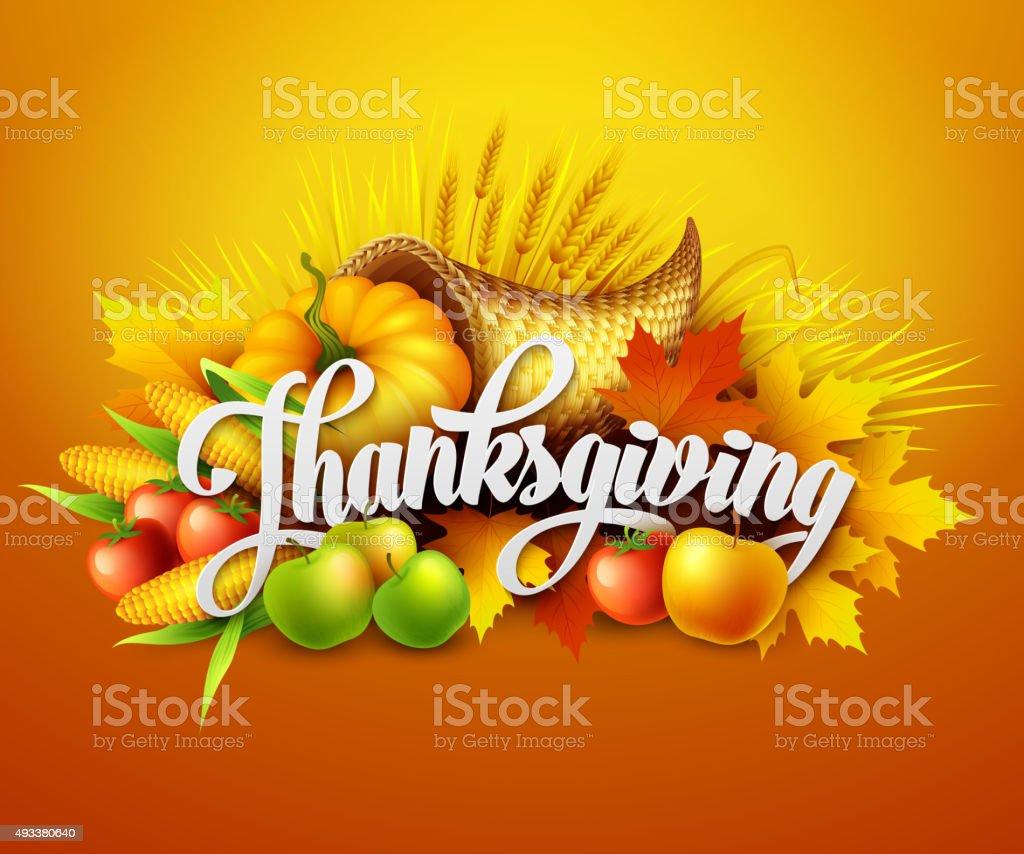Illustration of a Thanksgiving cornucopia full  harvest fruits and vegetables. vector art illustration