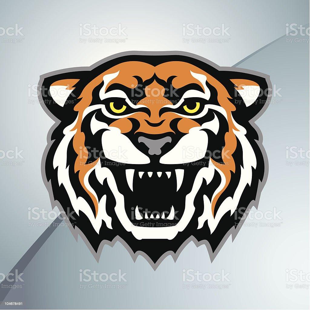 Illustration of a tiger head mascot vector art illustration